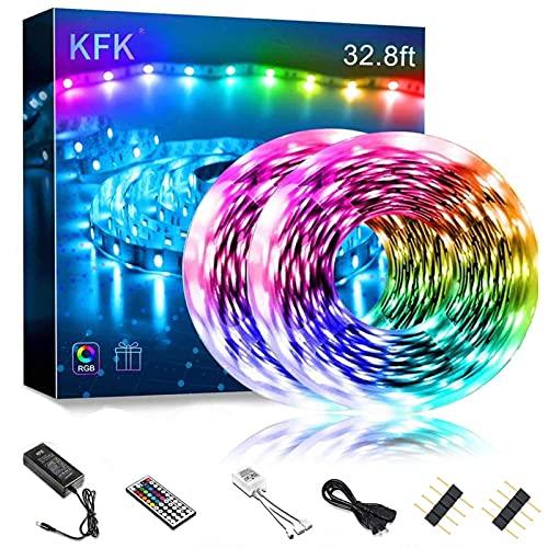 Led Strip Lights 32.8ft 10m Color Changing Non Waterproof LED String Lights with SMD 5050 RGB 300 LEDs Light Strips and 44 Keys IR Remote 12V Power Supply for Home, Bedroom, Kitchen,DIY Decoration