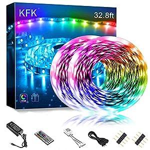 Ultra Bright Led Light Strips for Bedroom,KFK 32.8ft Color Changing LED String Lights with SMD 5050 300 LEDs RGB Strip Lighting and 44 Keys IR Remote 12V Power Supply for Home,Bedroom,DIY Decoration