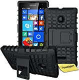 Microsoft Lumia 435 Handy Tasche, FoneExpert® Hülle Abdeckung Cover schutzhülle Tough Strong Rugged Shock Proof Heavy Duty Hülle für Microsoft Lumia 435 + Bildschirmschutzfolie (Schwarz)