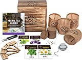 Indoor Herb Garden Seed Starter Kit - Herbal Tea Growing Kits, Grow Medicinal Herbs Indoors, Lavender, Chamomile, Lemon Balm, Mint Seeds for Planting, Soil, Plant Markers, Pots, Infuser, Planter Box