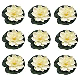 RONRONS 9 Pack Artificial Floating Foam Lotus Flowers with Water Lily Pad Ornaments, Ivory White