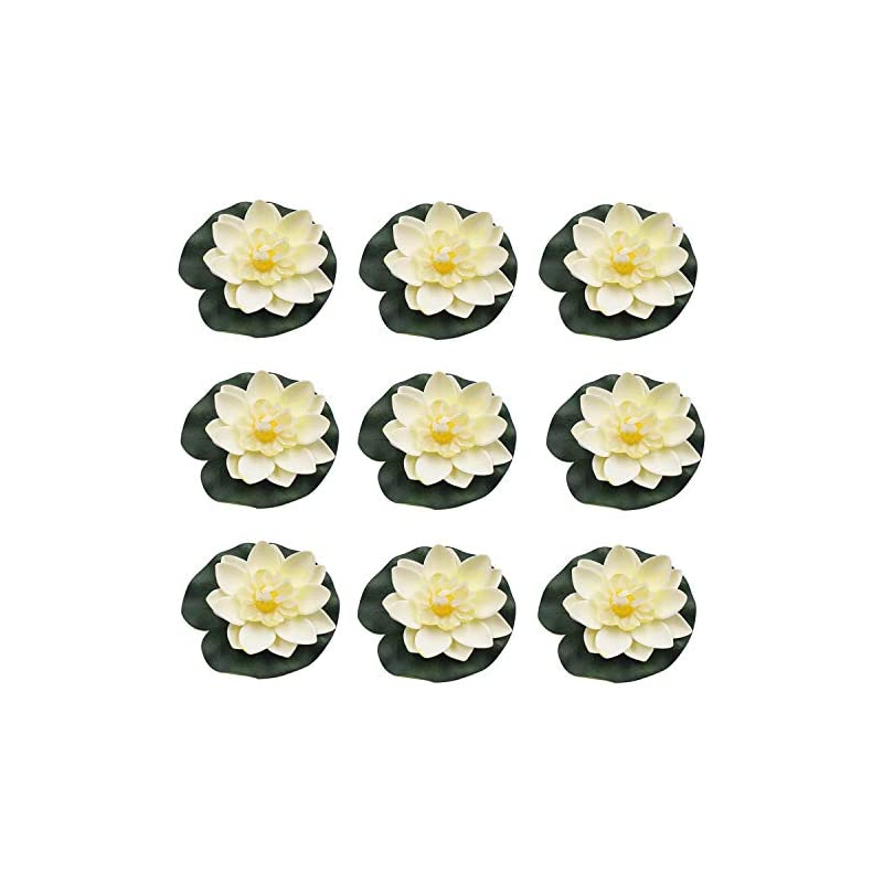silk flower arrangements ronrons 9 pack artificial floating foam lotus flowers with water lily pad ornaments, ivory white