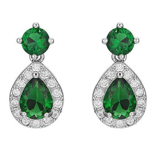 Pendientes De Botón De Esmeralda Gemela De Diamantes En Forma De Gota De Cristal Verde