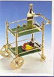 Servierwagen mini 8 x 5 cm ca Messing vergoldet 8 Teile