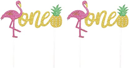 UPKOCH 2 Pcs Flamingo Cake Toppers Pineapple Cupcake Toppers Tropical Cake Picks for Birthday Baby Shower