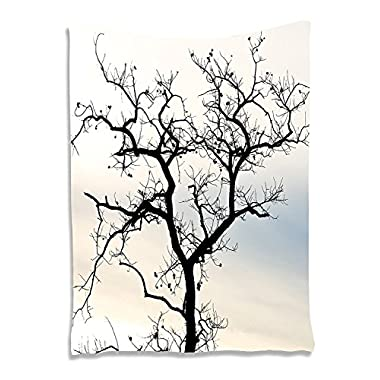 Ambesonne Tree Tapestry Art Decor, Black Branches with Little Blossoms in Fall Forest Calm Sky Print, Wall Hanging for Bedroom Living Room Dorm, 40 Width x 60 Length Inches, Cream and Light Blue