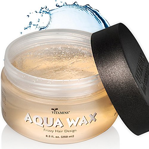 Aqua Hair Wax Styling Gel – Anti Frizz Combo Size Water Based Pomade Jar 8.5 oz - For All Hair Types