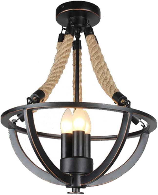Popular brand in the world NAMFMSC American Ceiling Light Fixtures A surprise price is realized a Rope Hemp Retro Simple