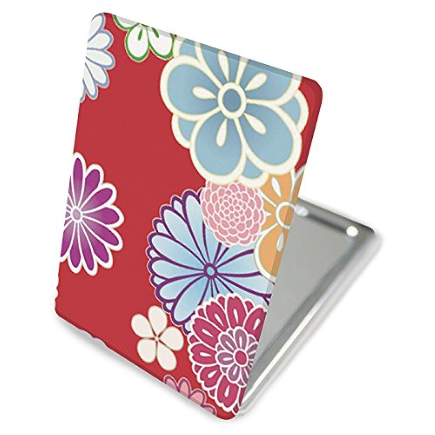 インディカ谷オセアニア(カリーナ) Carine 手鏡 コンパクトミラー ハンドミラー 拡大鏡付 持ち歩きに便利 かわいい kgm014(C) 花柄 フラワー デザイン 和柄 和風 和花