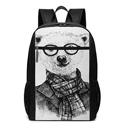 Zaino Scuola Casual Sciarpa da giacca con orso hipster di schizzo, Uomo Donne Ragazze Ragazzi Zaino per Borsa Da Viaggio Zaini Scolastico per Pc Portatili
