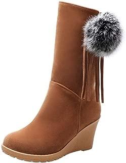 MisaKinsa Women Wedges Heels Fringe Boots Round Toe Mid Claf Boots Zipper