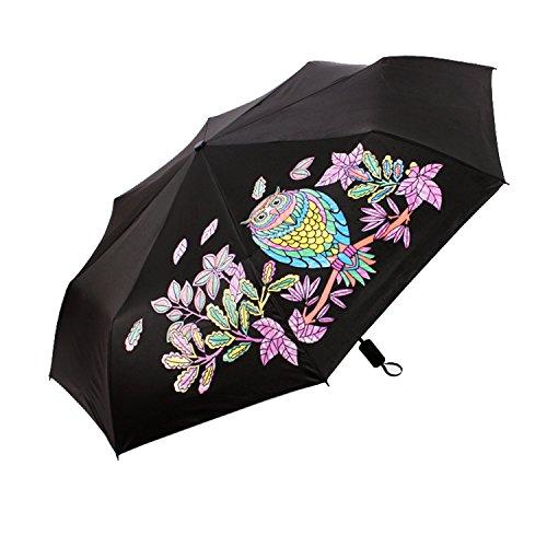 LABABE Regenschirm Taschenschirm Wechselt die Farbe Eule mit 108 cm Durchmesser Sonnenschirm