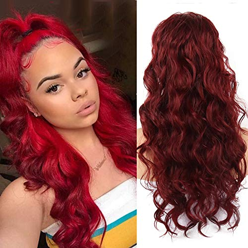 LEOSA 24 Inch Long Body Wave Ponytail Extension Drawstring Heat Resistant Curly Wavy Synthetic Wrap Around Ponytail Black Hairpiece for Women (Wine Red)