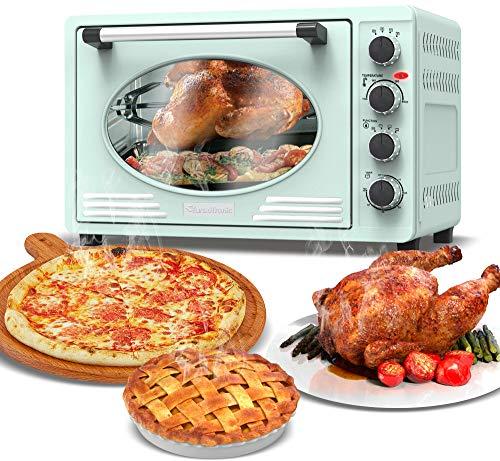 Mini-Backofen 45L mit Drehspieß, Backblech, Timerfunktion, Umluft, Innenbeleuchtung, Retro Design, Pizza-Ofen, 2000 Watt (hellblau)