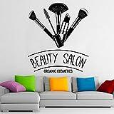 WERWN Salón de Belleza Calcomanía de Pared Cosméticos orgánicos Herramientas de Maquillaje Puertas y Ventanas Pegatinas de Vinilo Interior de la habitación de Maquillaje Papel Tapiz Art Deco
