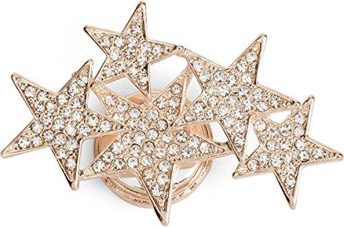 styleBREAKER Magnet Schmuck Anhänger mit versetzt angeordneten Strass besetzten Sternen für Schals, Tücher oder Ponchos, Brosche, Damen 05050061, Rosegold, Einheitsgröße