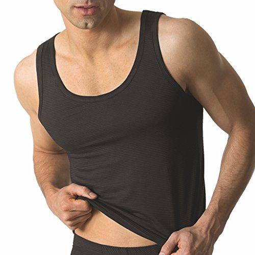 Ammann - Herren Unterhemd/Sport-Jacke - Cotton & More - Modal-Baumwoll-Elastan Mischung - Schwarz Dunkel-Blau Weiß - Größe 5 bis 8 (6, Schwarz)