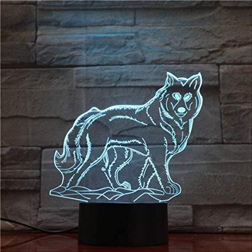 Luz de noche 3D luz para niños lobo animal luz 3D USB luz de noche LED RGB mesa de iluminación niños cumpleaños regalos de navidad decoración del hogar