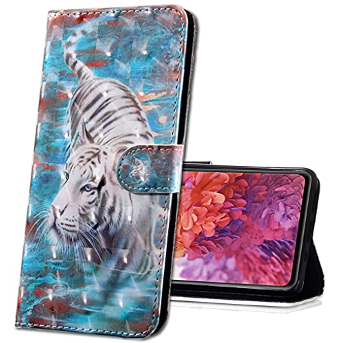 MRSTER LG Q60 Handytasche, Leder Schutzhülle Brieftasche Hülle Flip Hülle 3D Muster Cover mit Kartenfach Magnet Tasche Handyhüllen für LG K50 / LG Q60. BX 3D - White Tiger