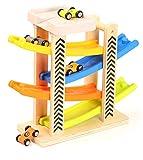 TOWO Juguete Rampa Coches Madera con Estacionamiento en la Azotea, Rieles de Plástico en Zigzag y 4 Vagones de Madera - Juguetes de Madera del Coche para los niños y bebes - Pista Carreras circuitos