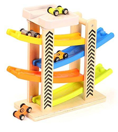 Toys of Wood Oxford TOWO Kugelbahn Parkgarage aus Holz - mit 4 Holz-Autos & Parkplatz auf dem Dach - Auto Holzspielzeug für Kleinkinder -Rennspielzeug für Kinder Jungen Mädchen 1 2 3 4