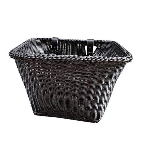 35x27x25cm Bike Basket Waterproof, Front Handlebar Wicker Rattan Bicycle Basket, Hand-Woven Shopping Basket, Wicker Bicycle Basket, with Waterproof and Adjustable Belt