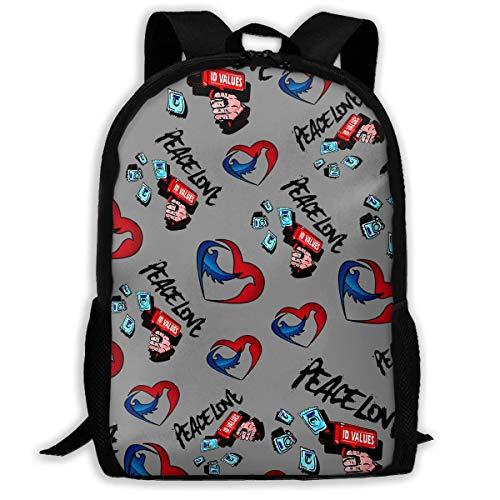 BUGKHD Leichter Rucksack mit Pistolen-Motiv, Motiv Pace Love Pistole Kondom, Herz-Taube, bedruckt, wasserabweisend, für Reisen, Laptop, 43,2 cm (17 Zoll)