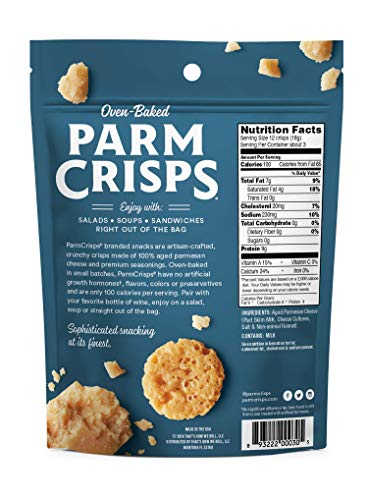 ParmCrisps Original, 1.75 Oz (Pack Of 12), Keto Snacks, 100% Cheese Crisps, Gluten Free, Sugar Free, Keto-Friendly