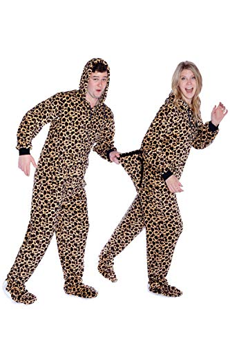 Big Feet Pjs Leopard Print Hoodie Plush Footed Pajamas w/Drop Seat (M)