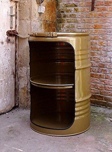 Fassmöbel Fass Design Regal Ölfass Möbel 210 Liter Volumen Farbe Gold/Beleuchtung mit 2 Lampenfassungen