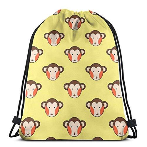 Elsaone Patrón de Monos de Dibujos Animados Mochila con cordón Bolsa Mochila Deportiva para Gimnasio 36 x 43 cm / 14 x 17 Pulgadas