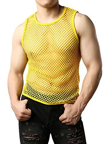 JOGAL Men's Mesh Fishnet Fitted Sleeveless Muscle Top Medium WG01 Yellow