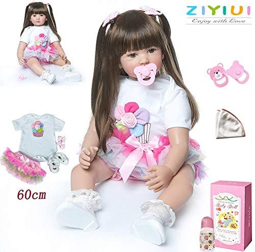 ZIYIUI 24 inch 60cm Bambole Reborn Femmine in Silicone Morbido Realistico Occhi Aperti Neonato Bambino Bambola Capelli Lungo Baby i Regali per Bambini