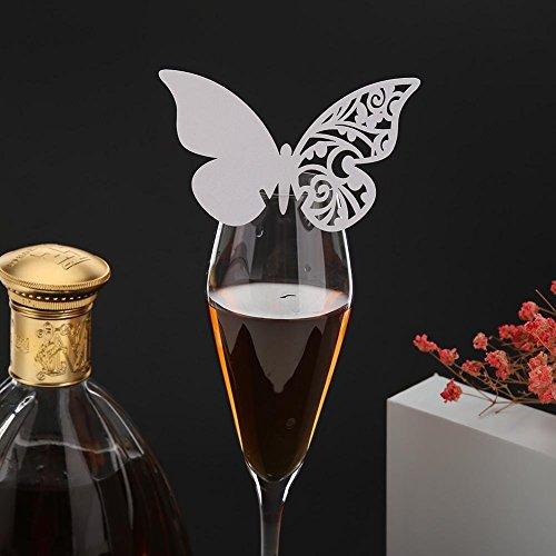 UEB Segnabicchiere Farfalla Carte Segnatavolo Farfalle Segnaposto Matrimonio Farfalla Segnabicchiere Bomboniera per Matrimonio Compleanno Battesimo (20pz/Stile 2)