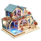 Artistic9 DIY Puppenhaus Miniatur Kit 3D Puzzle Holz Strand Villa mit Pool Möbel Set Kreative...