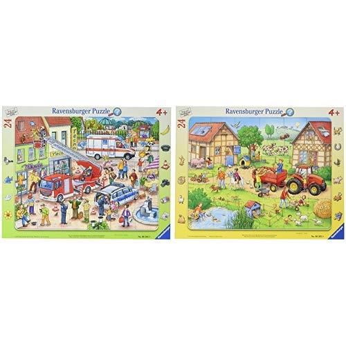 "Ravensburger Rahmenpuzzle 06581"" 110, 112-Eilt herbei Puzzle &  Rahmenpuzzle 06582 Mein Kleiner Bauernhof Puzzle"