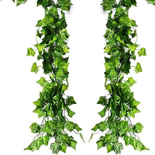 GOHHK Guirnalda de Hiedra Artificial para decoración de Pared, Resistente a los Rayos UV, Hojas Verdes, Plantas Falsas, Plantas Colgantes, para Bodas, Fiestas, jardín, decoración de Pared, 84 pies