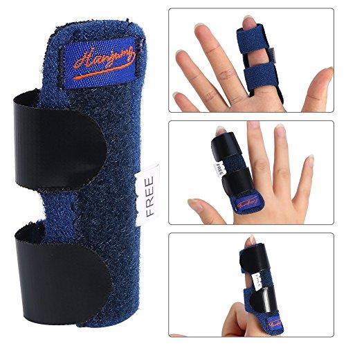 zjchao Finger Splint Finger Schiene, Verstellbarer Befestigungsgürtel mit integrierter Aluminium Stütze für Finger Sehnen Release und Schmerzlinderung
