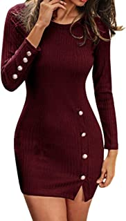 Women Casual Solid Sexy Slim Button Decor Long Sleeve O-Neck Split Ribbed Knitted Mini Sweater Dress