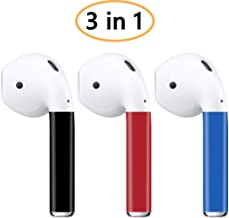 AirPods Skin (3 in 1 AirPod Skins) for AirPods 2 & 1 (Black Red Blue) Protective Wraps Stickers to Cover Air Pods - Compatible Sticker Wrap Decal with Apple Air Pod Accessories