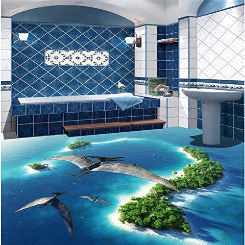 Custom 3D Floor Mural Wallpaper Custom Nonwovens Papel pintado impermeable Jurassic Park Sala de estar Baño 3D Azulejo de piso Decoración-150 * 105Cm Para cocina Baño, Decoración de sala de estar
