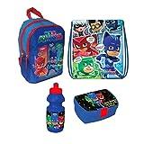 PJ Masks Masked Heros Rucksack Tasche Kindergarten 4 Teile Set Brotdose Flasche inklusive Sticker...