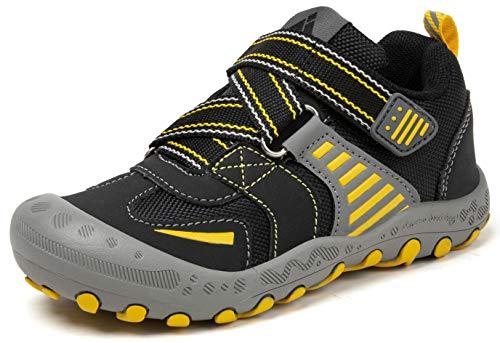 Mishansha Unisex-Kinder Trekking Wanderschuhe für Jungen Ultraleicht Wanderschuhe Outdoor Sneaker mit Klettverschluss Schwarz 35 EU