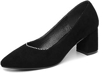 [qkeusf] レディース パンプス ポインテッドトゥ スリッポン ミドルヒール ラインストーン 通勤 美脚効果 脱げない ファッション エレガント ソフト コンフォート シンプル 欧米風 ブラック ピンク 婦人靴 太めヒール