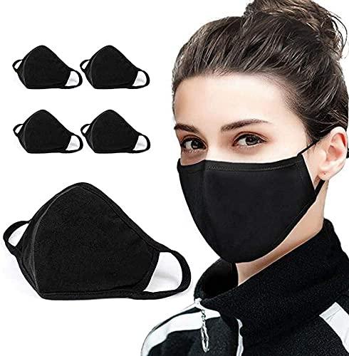 5 Pack Protect Cover Bandana Balaclavas   Katoen Anti-stof Mondkap Gezichtsmasker   Voor Mannen & Vrouwen   2-laags Herbruikbare Mode Wasbaar Cover - UK SELLER (Pack 5, zwart)