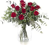 12 Rosas Rojas, Flores Naturales a Domicilio Blossom® | Ramo de Rosas Naturales a Domicilio Frescas y Recién Cortadas | Sant Jordi, San Valentín, Día de los Difuntos | Entrega Gratis 24 horas