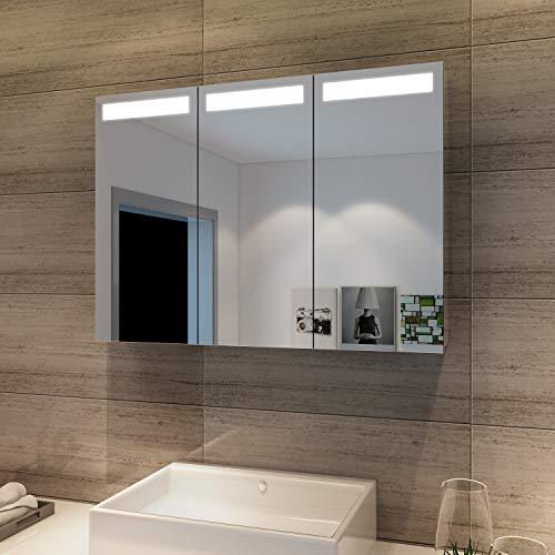 SONNI Spiegelschrank Bad 65×90cm LED Spiegelschrank 3-türig Badezimmerspiegel mit Beleuchtung Badezimmerspiegel Badschrank mit Steckdose und Infrarot-Sensorschalter