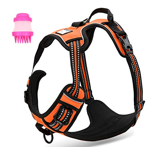 Dog Harness with Handle -+FreeGift Set[TLBBG2]:All in One No Pull Dog Harness Lead with Breathable Soft Padding Front Ring, Escape Resistant Anti Pull Dog Harness for Small Medium Large Dogs