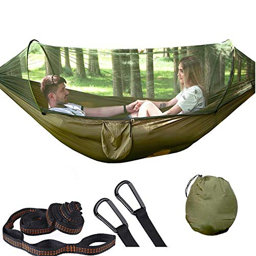 Camping Hammocks with Mosquito/Bug Net, Single &Double Hammock Lightweight Portable Parachute Nylon 1/2 Person Hammock for Camping, Backpacking, Survival, Travel & Mo (290x140cm/Dark Green)