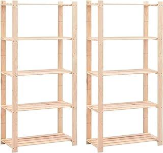 vidaXL 2x Pin Solide Etagères de Rangement à 5 Niveaux Unité de Rangement Stockage Atelier Cuisine Salle de Lavage Garage ...